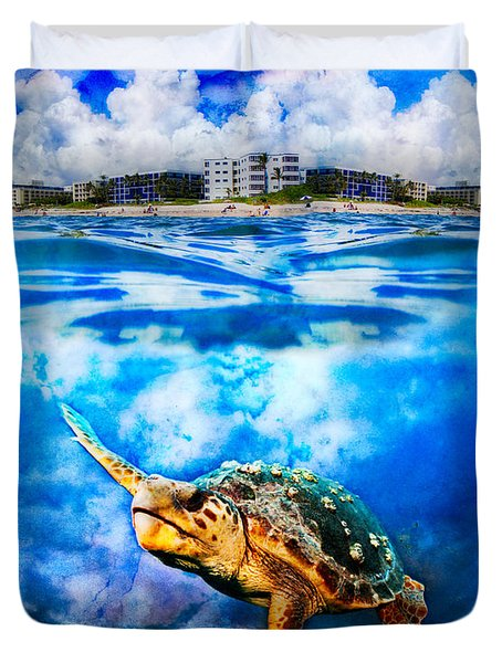 Palm Beach Under And Over Duvet Cover by Debra and Dave Vanderlaan