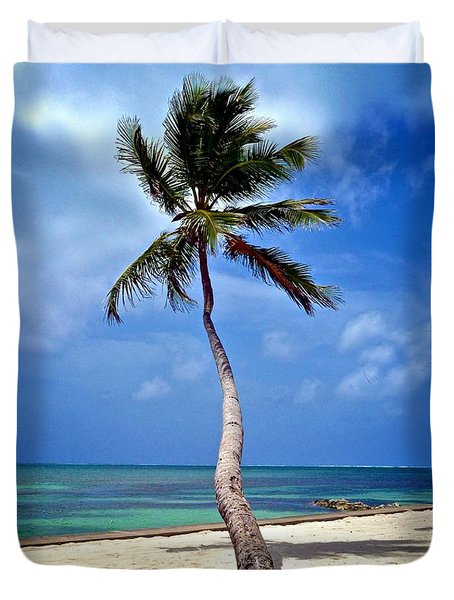 Palm Tree Swayed Duvet Cover by Kristina Deane