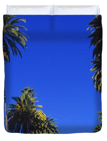 Palm Trees Along A Road, Beverly Hills Duvet Cover by Panoramic Images