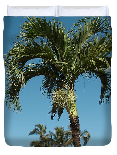 Palm Trees And Blue Sky Duvet Cover by Sharon Mau