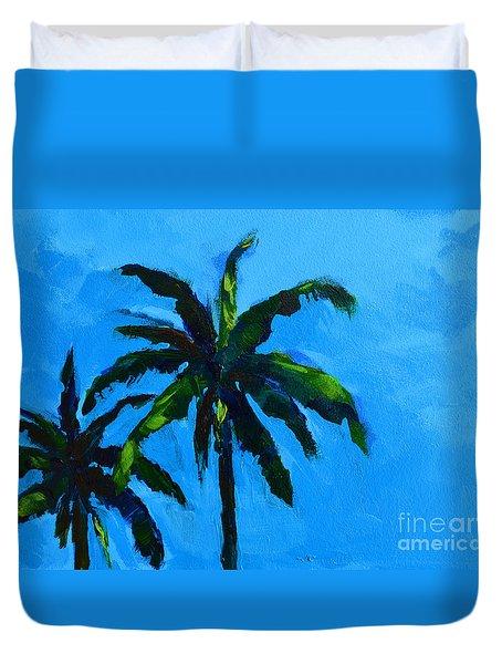 Palm Trees at Miami Beach Duvet Cover by Patricia Awapara