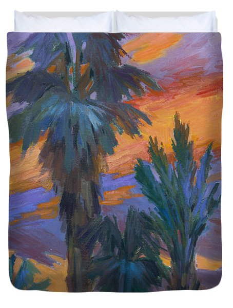 Palms And Sunset Duvet Cover by Diane McClary