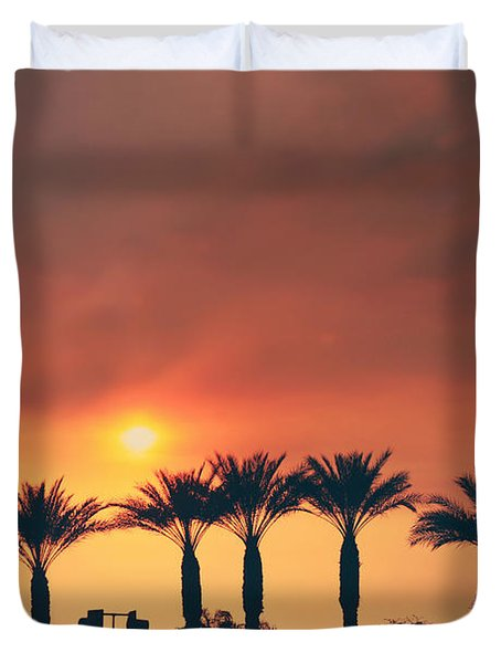 Palms On Fire Duvet Cover by Laurie Search