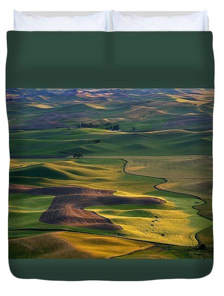 Palouse Shadows Duvet Cover by Mike  Dawson