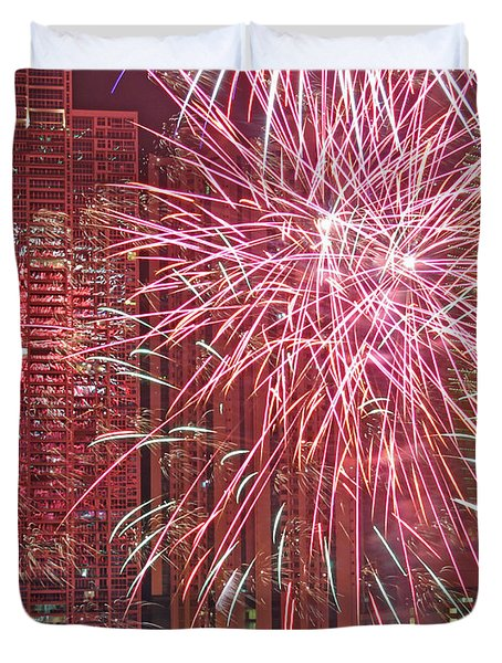 Panama Fireworks Duvet Cover by Bob Hislop