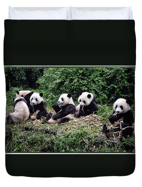 Pandas In China Duvet Cover by Joan Carroll