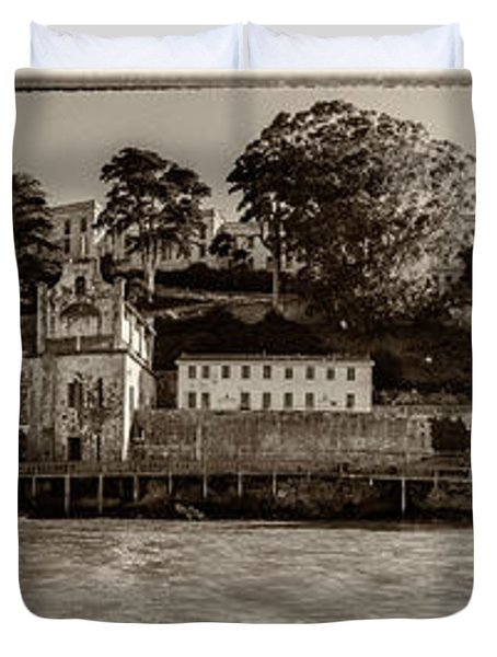Panorama Alcatraz Torn Edges Duvet Cover by Scott Campbell