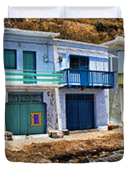 Panorama Of Tiny Colorful Fishing Huts In Milos Duvet Cover by David Smith