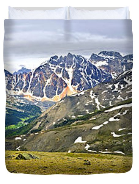 Panorama Of Rocky Mountains In Jasper National Park Duvet Cover by Elena Elisseeva