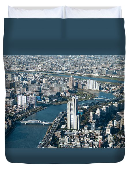 Panorama Of Tokyo Duvet Cover by Jill Mitchell