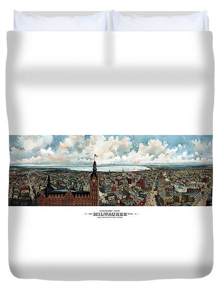 Panoramic View Of Milwaukee Wisconsin Duvet Cover by War Is Hell Store