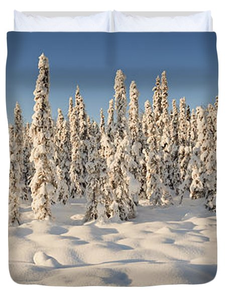Panoramic View Of Snow-covered Spruce Duvet Cover by Ray Bulson