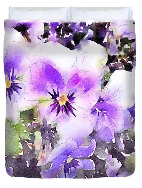 Pansies Watercolor Duvet Cover by John Edwards