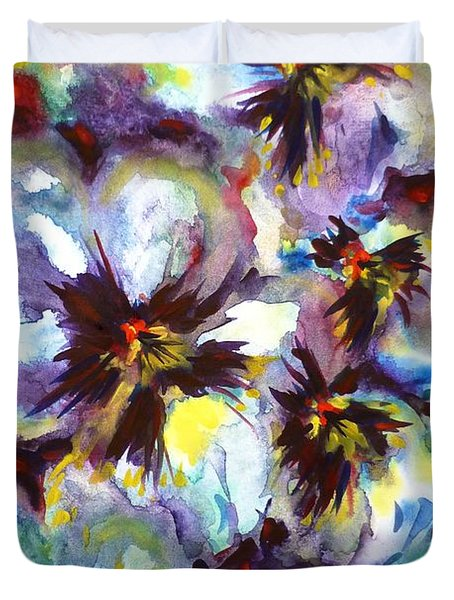 Pansies Duvet Cover by Zaira Dzhaubaeva