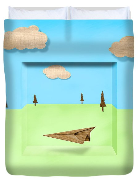Paper Airplanes of Wood 11 Duvet Cover by Yo Pedro