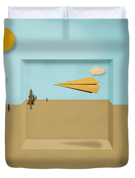 Paper Airplanes of Wood 12 Duvet Cover by Yo Pedro