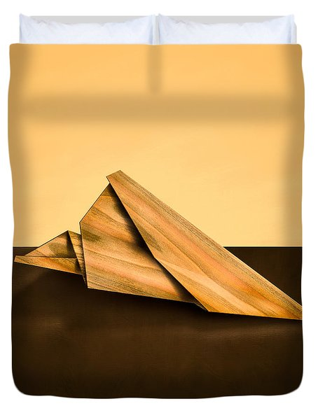 Paper Airplanes Of Wood 2 Duvet Cover by Yo Pedro