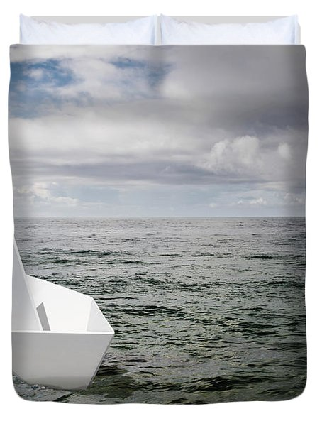 Paper Boat Duvet Cover by Carlos Caetano