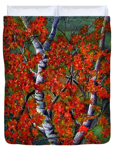 Paper White Birch reflections Duvet Cover by Janine Riley
