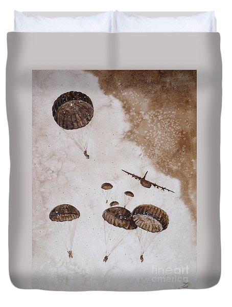 Paratroopers Duvet Cover by Zaira Dzhaubaeva
