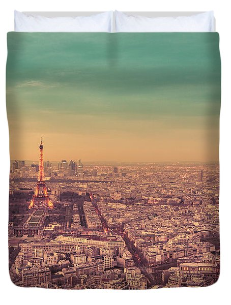 Paris - Eiffel Tower And Cityscape At Sunset Duvet Cover by Vivienne Gucwa