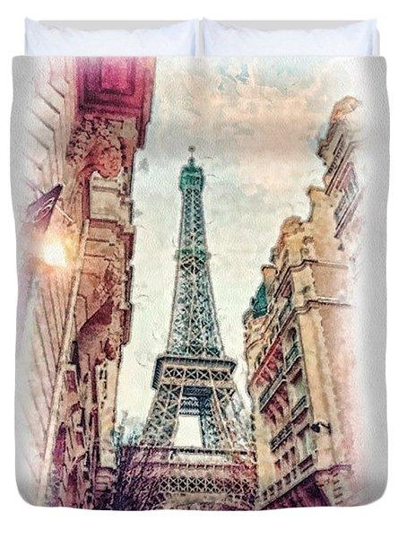 Paris Mon Amour Duvet Cover by Mo T