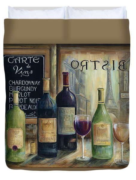 Paris Wine Tasting Duvet Cover by Marilyn Dunlap
