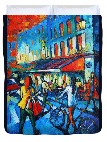 Parisian Cafe Duvet Cover by Mona Edulesco