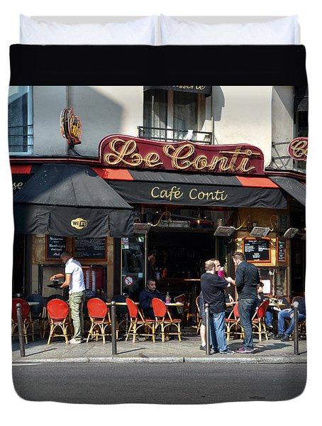 Parisian Cafe Le Conti Duvet Cover by RicardMN Photography
