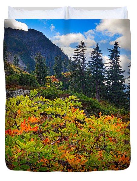 Park Butte Fall Color Duvet Cover by Inge Johnsson