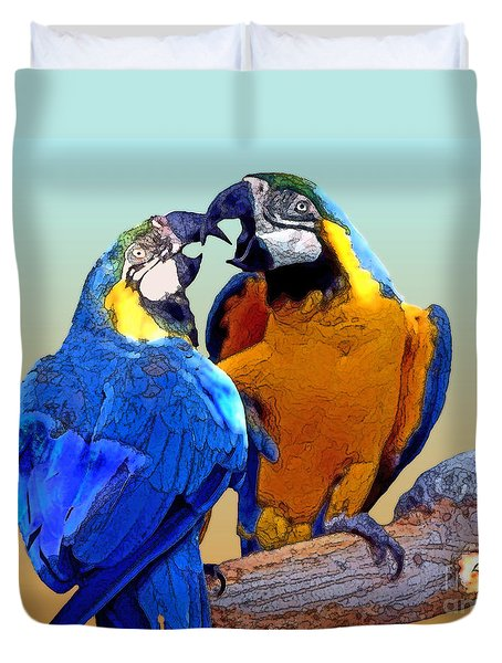 Parrot Passion 2 Duvet Cover by Linda  Parker