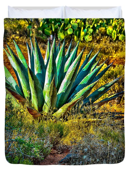 Parry's Agave Sometimes Called Century Plant Duvet Cover by Bob and Nadine Johnston