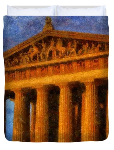 Parthenon On A Stormy Day Duvet Cover by Dan Sproul