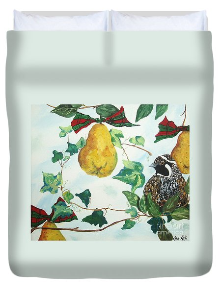 Partridge And  Pears  Duvet Cover by Reina Resto