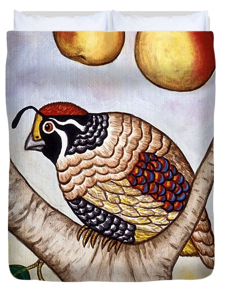 Partridge In A Pear Tree Duvet Cover by Linda Mears