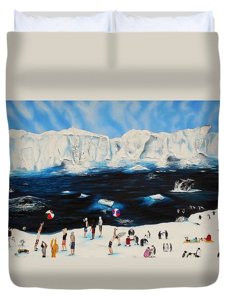 Party At Antarctic Duvet Cover by Raymond Perez