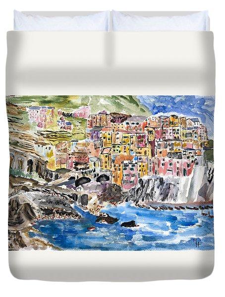 Pastel Patchwork Village Duvet Cover by Michael Helfen