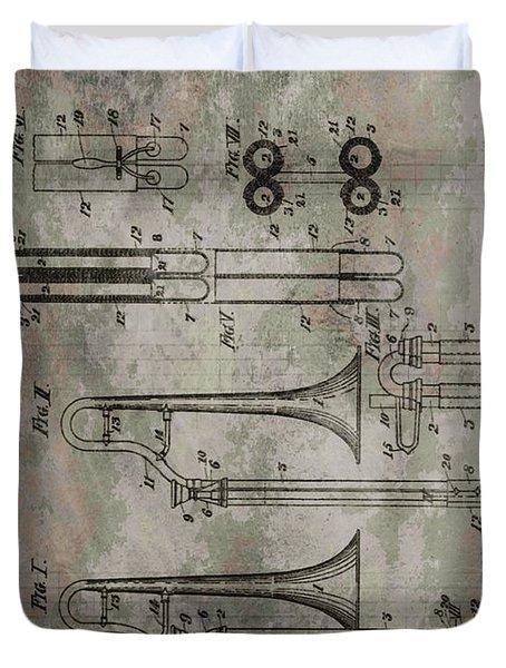 Patent Art Trombone Duvet Cover by Dan Sproul