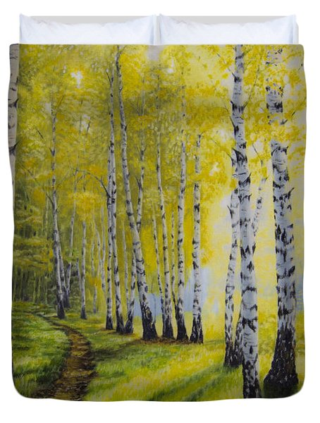 Path To Autumn Duvet Cover by Veikko Suikkanen