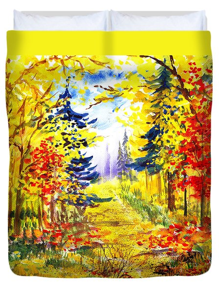 Path To The Fall Duvet Cover by Irina Sztukowski