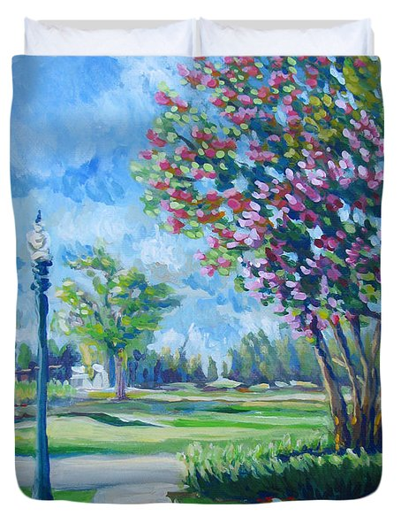 Path With Flowering Trees Duvet Cover by Vanessa Hadady BFA MA