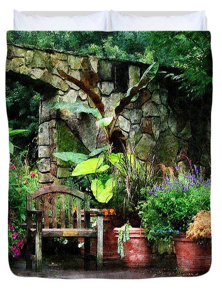 Patio Garden in the Rain Duvet Cover by Susan Savad