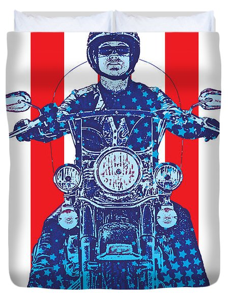 Patriotic Cycle Rider Duvet Cover by Gary Grayson