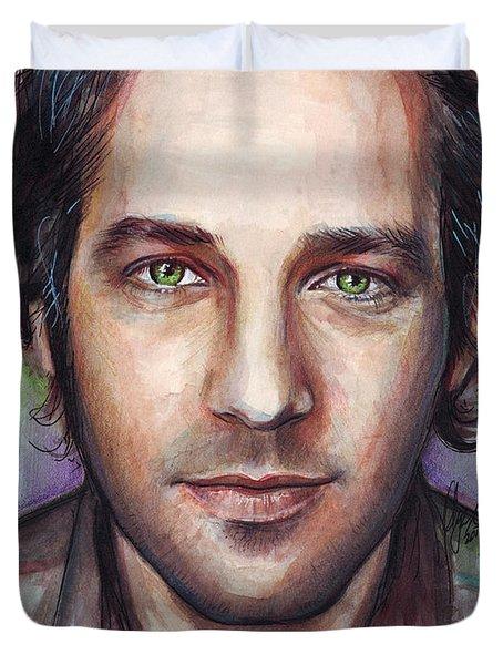 Paul Rudd Portrait Duvet Cover by Olga Shvartsur