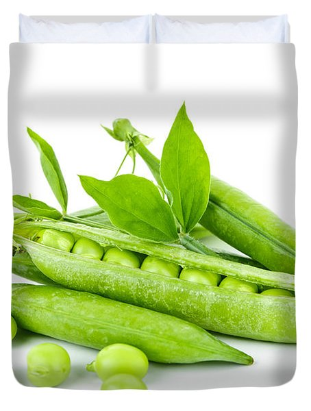 Pea pods and green peas Duvet Cover by Elena Elisseeva