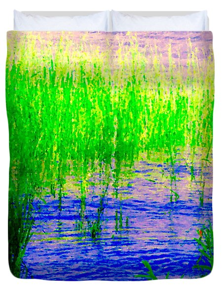 Peaceful Stream  Quebec Landscape Art Tall Grasses At The Lakeshore Waterscene Carole Spandau Duvet Cover by Carole Spandau