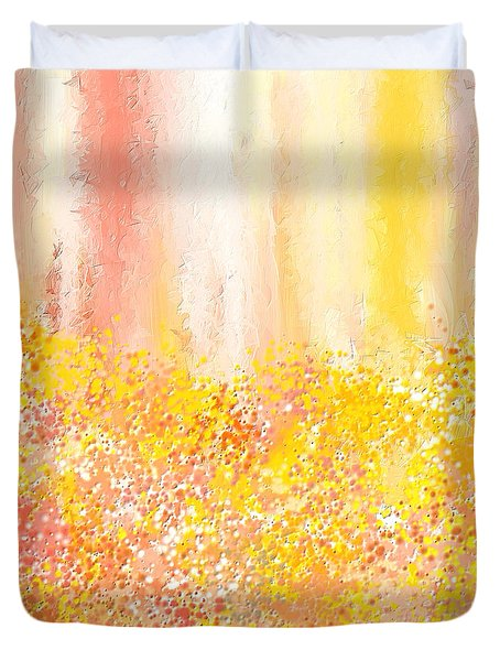 Peach And Yellow Garden- Peach And Yellow Art Duvet Cover by Lourry Legarde