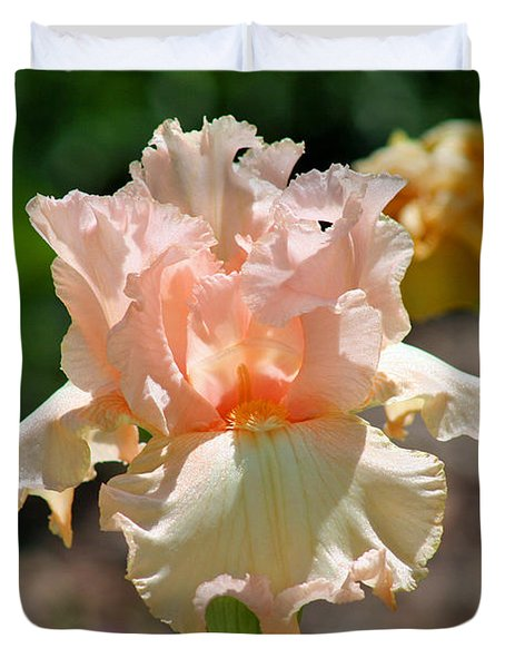 Peach-colored Iris Duvet Cover by Karen Adams