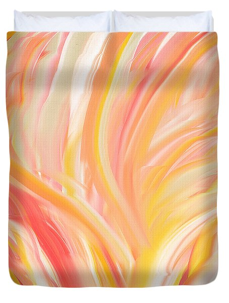 Peach Flare Duvet Cover by Lourry Legarde