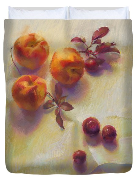 Peaches And Plums Duvet Cover by Cathy Locke
